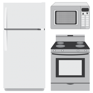 A microwave, fridge, and a stove.