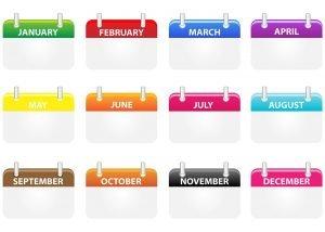 A calendar showing months