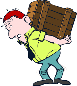A man carrying heavy box failing to avoid moving injuries