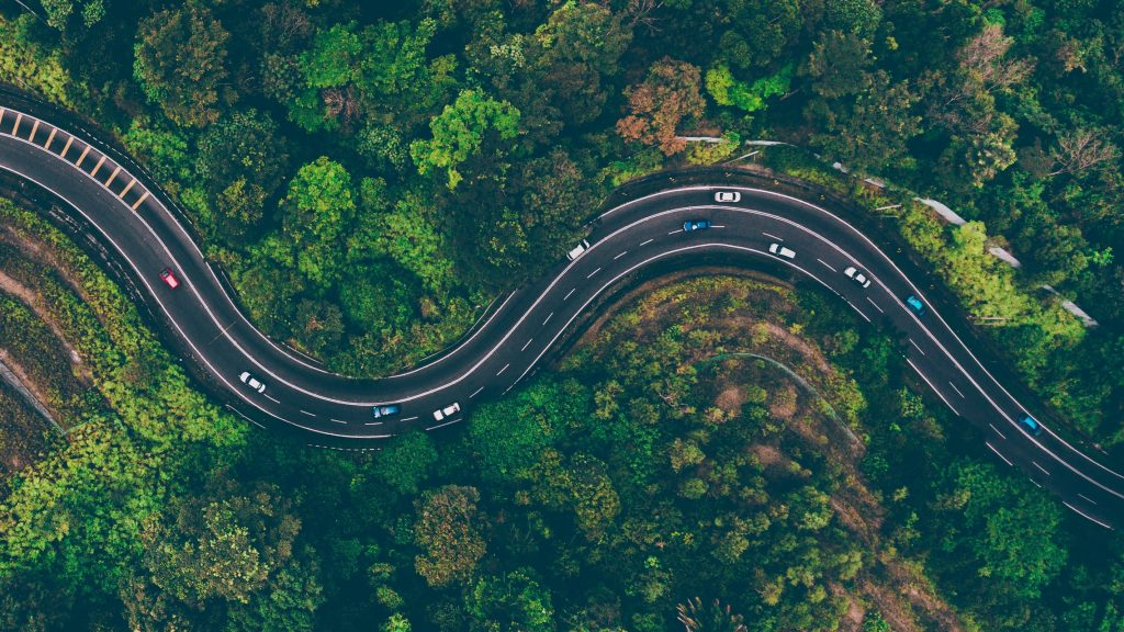 An aerial view of an open road
