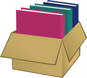 books in a moving box