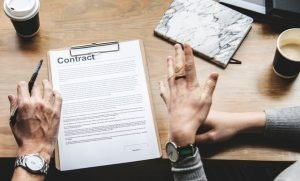 People discussing a contract