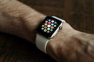 A smart watch on the wrist