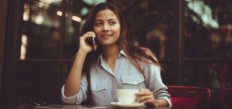 A girl making a phone call