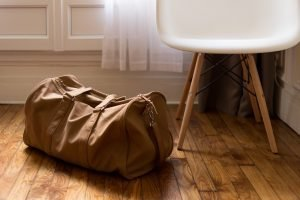 A brown bag on the floor
