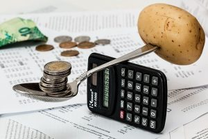 Dollar, spoon, calculator and potato