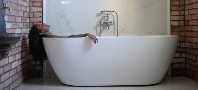 A person in a bath tub