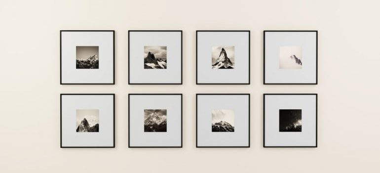 Black and white pictures hanged on a wall