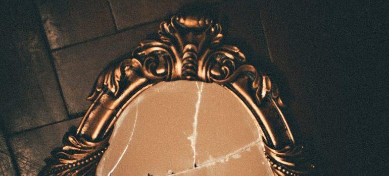 broken antique mirror