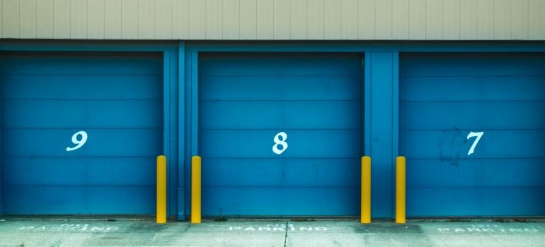 blue doors on storage units