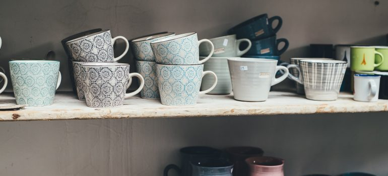 cups on shelves