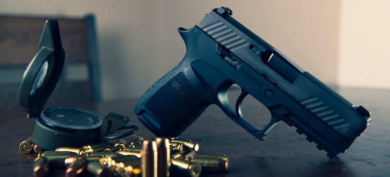 A semi automatic pistol and bullets