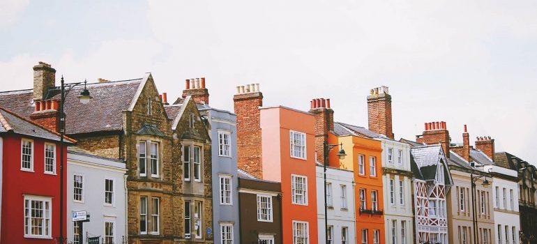 Colorful attached houses