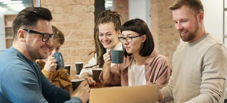 Group of people having coffee