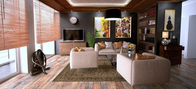 A clean and tidy living room which can help you avoid issues with landlords in Plano