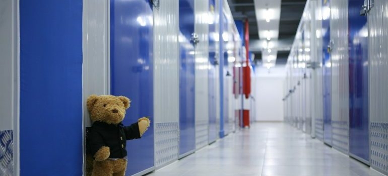 A teddy bear in front of a row of storage units