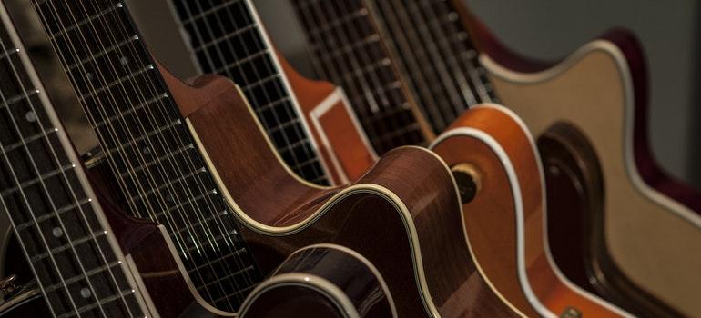 A row of guitars
