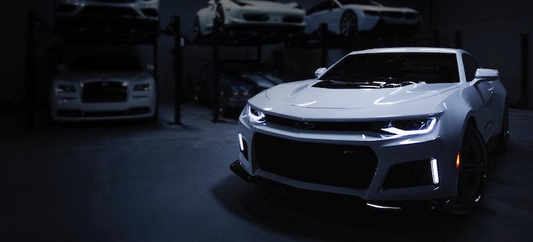 a car in a garage