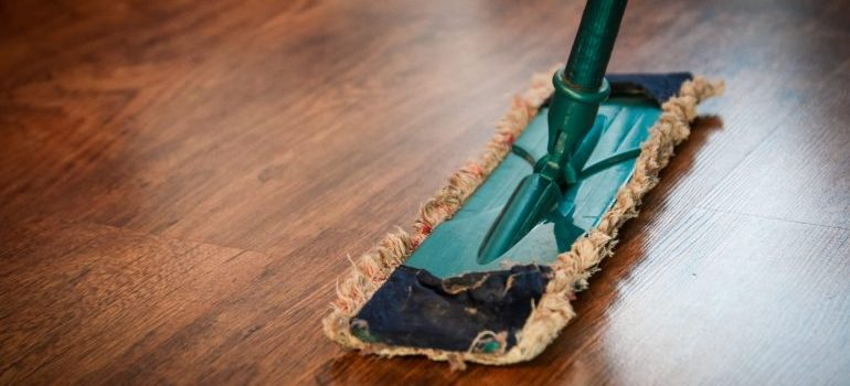 Cleaning floors.